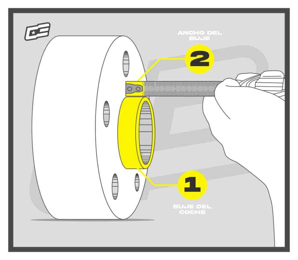 Buje coche, medida separadores